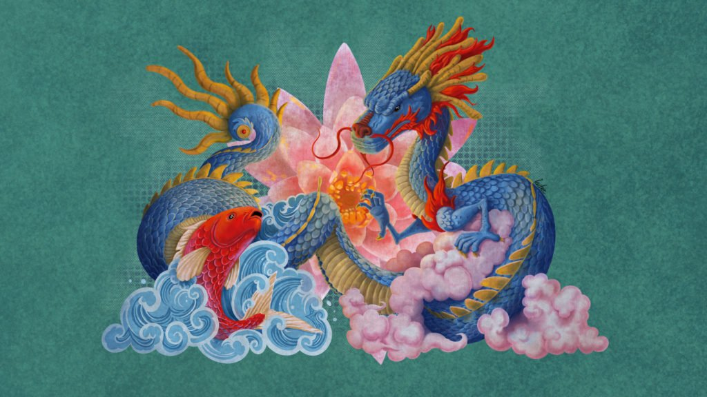 Koi And Dragon. Digital art.