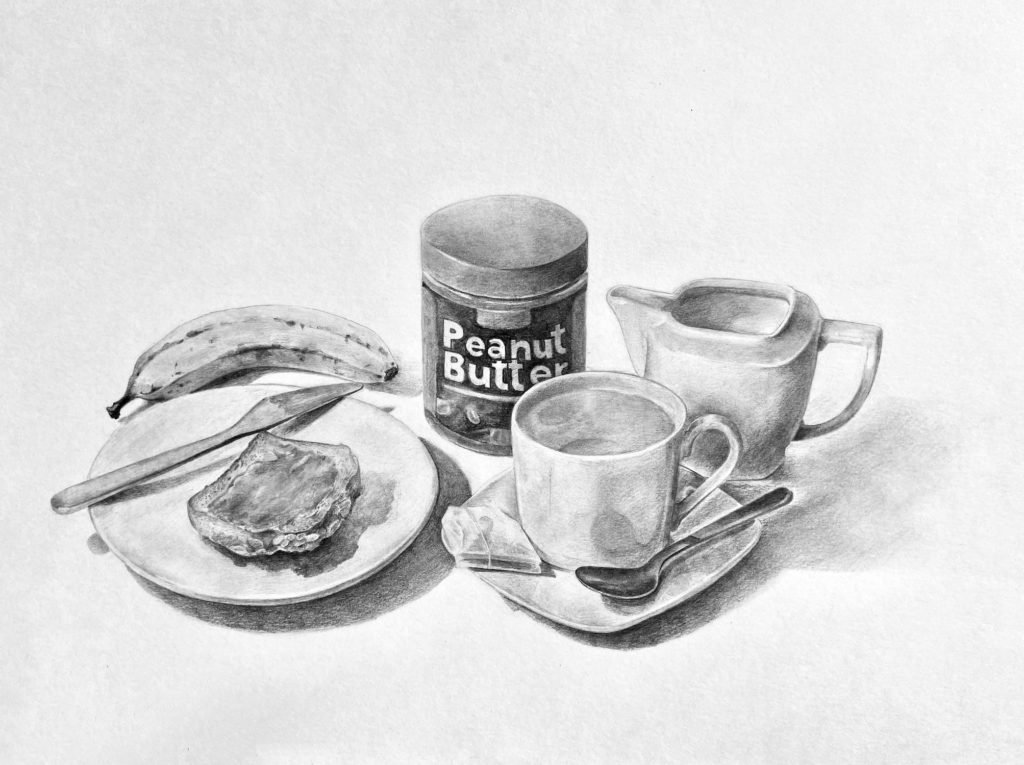 Breakfast Table. Graphite drawing. Size 29,7 x 42,0 cm.