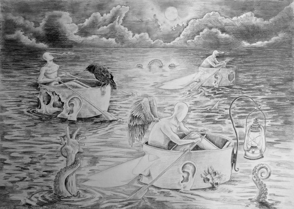 "Noctiluca. Second Price at drawing category in the ""VI Certamen Iberoamericano de las Artes"" – 2014."